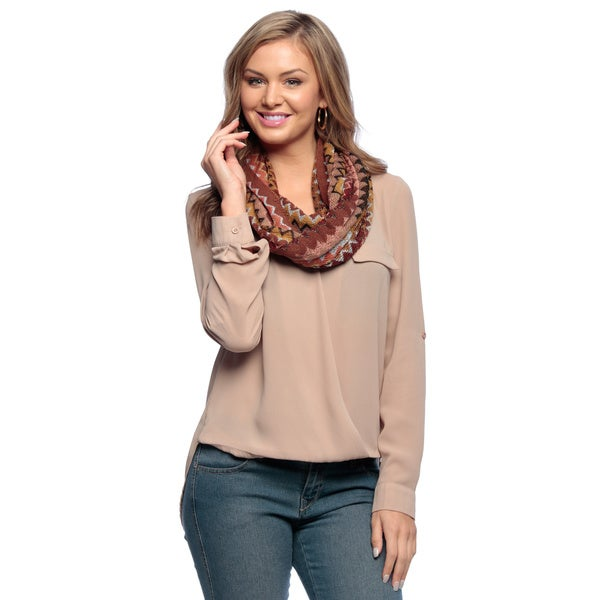 Chevron Rust Knitted Loop Scarf