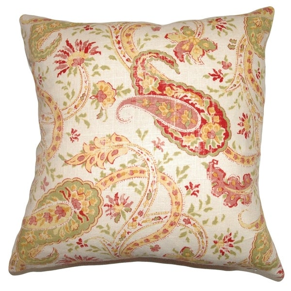 Berenice Paisley Down Filled Throw Pillow Mango