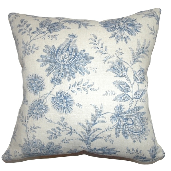 Camella Toile Down Filled Throw Pillow Blue