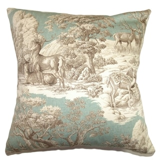 Feramin Toile Down Filled Throw Pillow Aqua Back