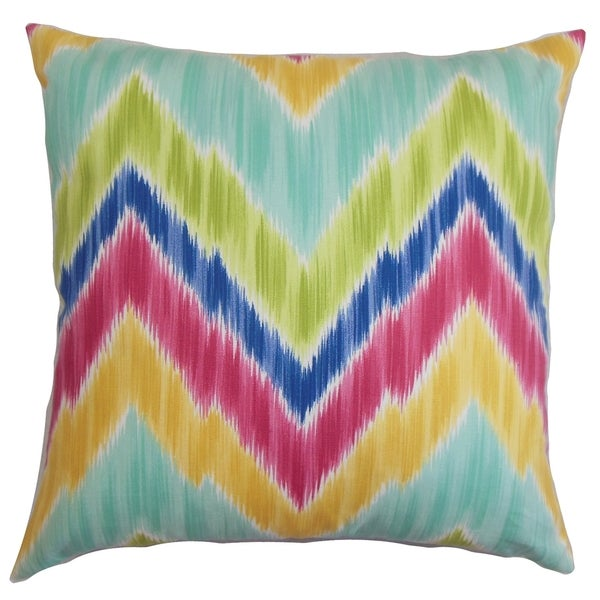 Caltha Zigzag Down Fill Throw Pillow Green
