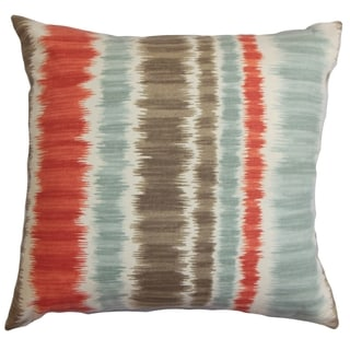 Odile Red and Blue Stripes Feather and Down Filled Throw Pillow