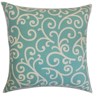Faya Swirls Down Fill Throw Pillow Aqua