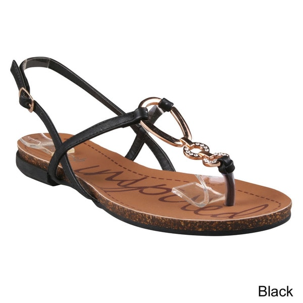 Refresh Women's 'Lisa-2' Metal Ring T-strap Flat Sandals