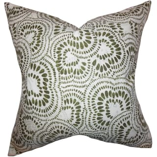 Glynis Floral Down Filled Throw Pillow Olive Green