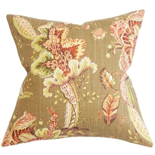 Eluned Floral Down Filled Throw Pillow Brown