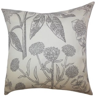 Neola Floral Down Filled Throw Pillow Gray