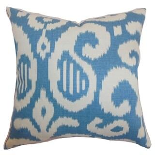 Hohenems Ikat Down Filled Throw Pillow Aqua