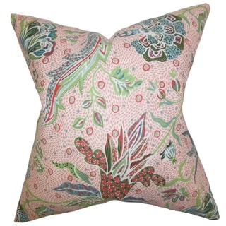 Fflur Floral Down Filled Throw Pillow Coral