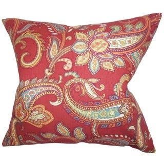 Galila Floral Down Filled Throw Pillow Red