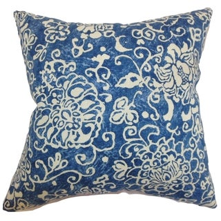 Jaffna Floral Down Filled Throw Pillow Blue