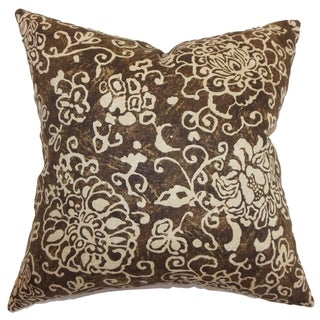 Jaffna Floral Down Filled Throw Pillow Chocolate