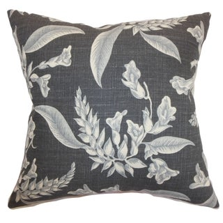 Kaitaia Floral Down Filled Throw Pillow Grey
