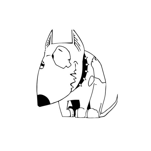 Cartoon Bull Terrier Vinyl Wall Art