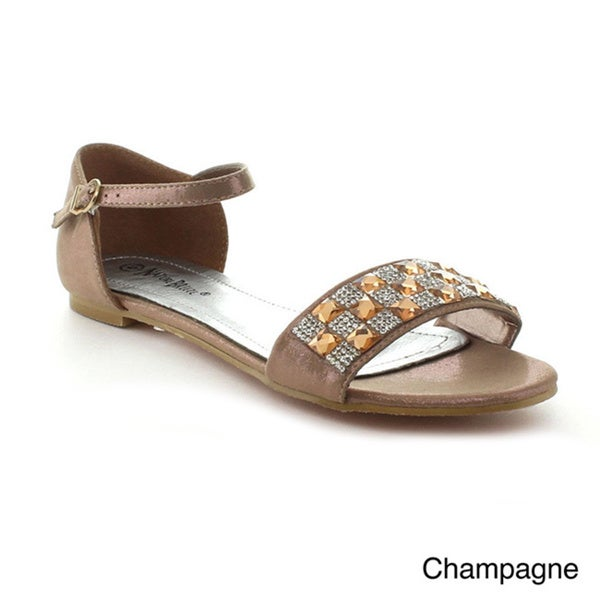 Nature Breeze Women's 'Milan-03' Rhinestone Band Flat Sandals