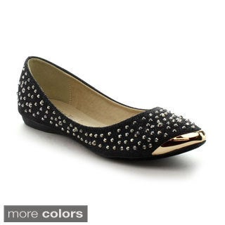 Nature Breeze Women's 'Stockholm-01' Rhinestone Studded Flats