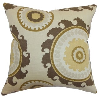 Obyan Geometric Feather and Down Filled Throw Pillow Natural
