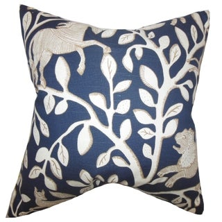 Jorja Foliage Feather and Down Filled Throw Pillow Blue