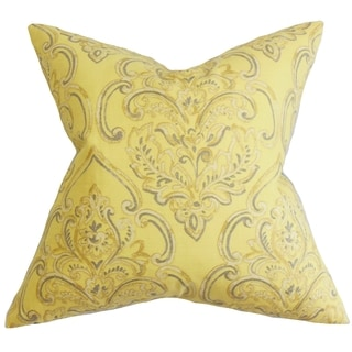 Yonah Floral Feather and Down Filled Throw Pillow Yellow