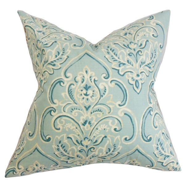 Yonah Floral Feather and Down Filled Throw Pillow Baby Blue
