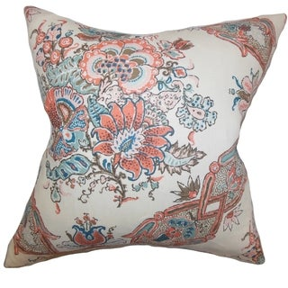 Laelia Floral Feather and Down Filled 18-inch Throw Pillow Coral