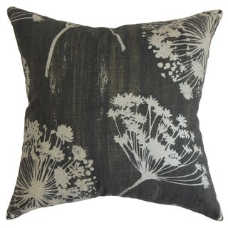 Garuahi Noir Floral Feather and Down Filled Throw Pillow