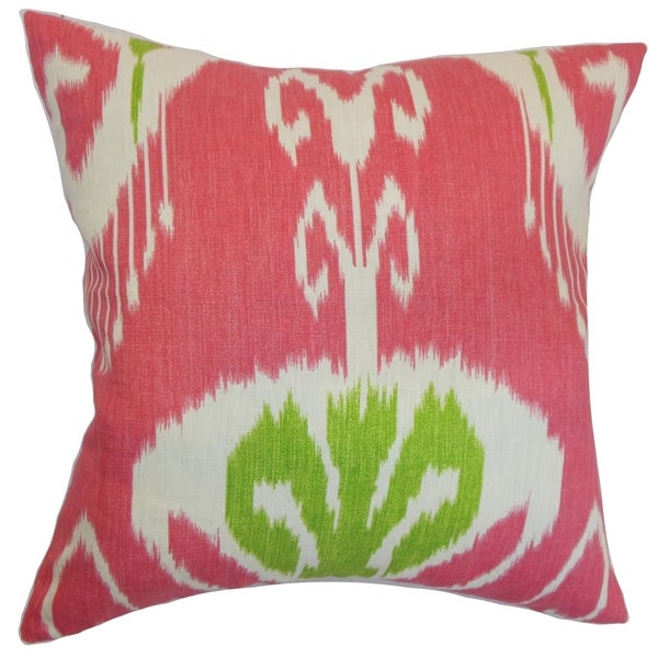 Ukhta Ikat Feather and Down Filled Throw Pillow Peony