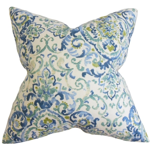 Blue And Green Decorative Throw Pillows : Halcyon Floral Feather and Down Filled Throw Pillow Blue Green - 16232092 - Overstock.com ...
