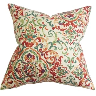 Halcyon Floral Feather and Down Filled Throw Pillow Multi