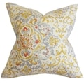 Halcyon Floral Feather and Down Filled Throw Pillow Gray Yellow