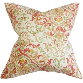 Halcyon Floral Feather and Down Filled Throw Pillow Rose Green