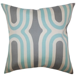Persis Geometric Feather and Down Filled Throw Pillow Aquamarine