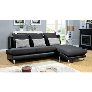 Umka Sectional Sofa with Pillows in Dark Grey Fabric and Black Leatherette