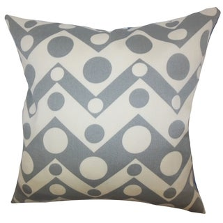 Quenby Geometric Feather and Down Filled Throw Pillow Grey