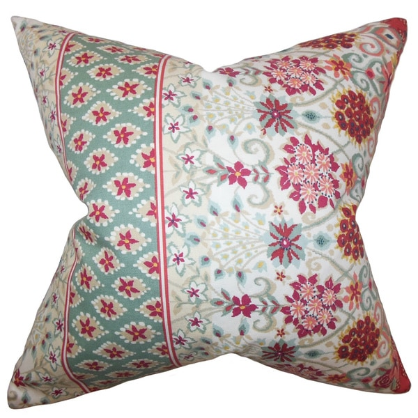 Kairi Floral Feather and Down Filled Throw Pillow Mint Red