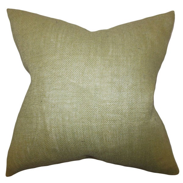 Ellery Moss Green Solid Feather and Down Filled Throw Pillow
