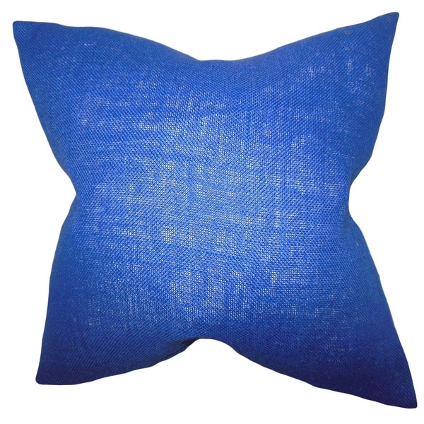Ellery Navy Blue Solid Feather and Down Filled Throw Pillow