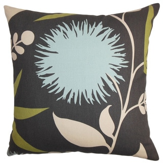 Huberta Black and Blue Floral Feather and Down Filled Throw Pillow