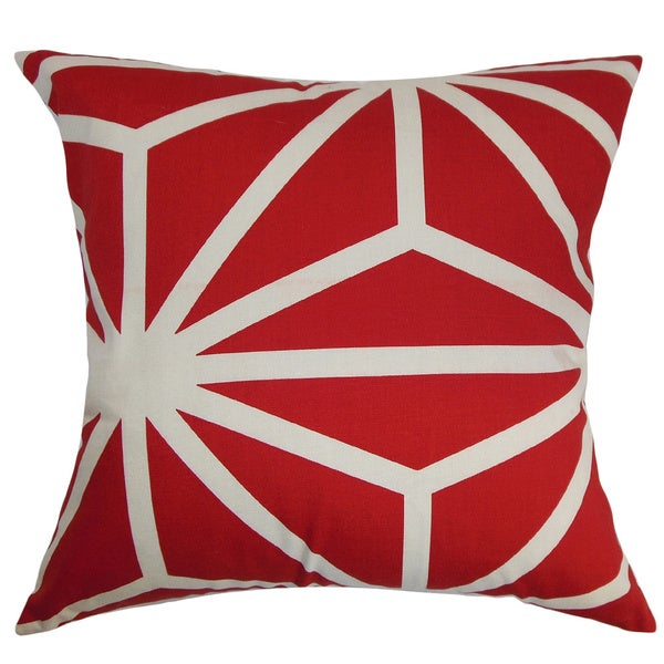 Dazu Ruby Geometric Feather and Down Filled Throw Pillow