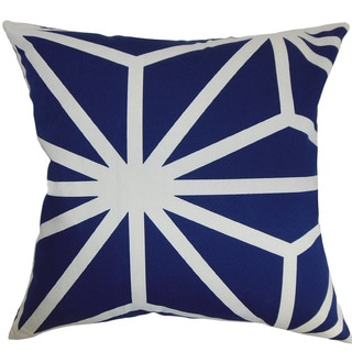Dazu Sapphire Geometric Feather and Down Filled Throw Pillow