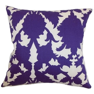 Fakahina Amethyst Damask Feather and Down Filled Throw Pillow
