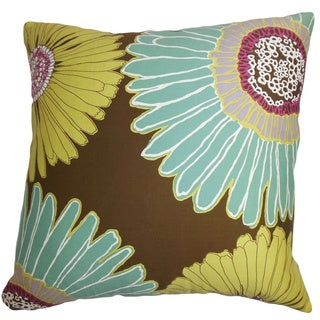Indrina Blue and Yellow Floral Feather and Down Filled Throw Pillow