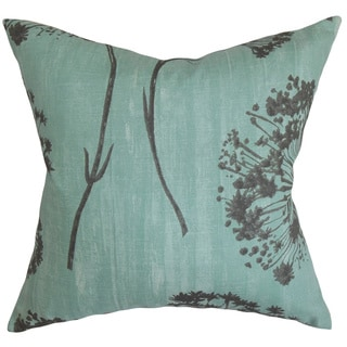 Garuahi Aqua Floral Feather and Down Filled Throw Pillow