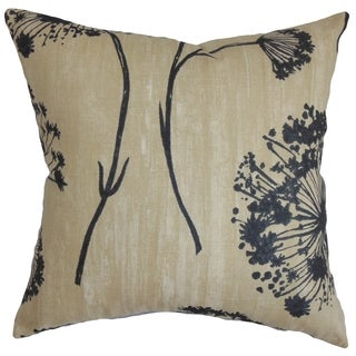 Garuahi Black and Beige Floral Feather and Down Filled Throw Pillow