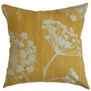 Garuahi Butterscotch Floral Feather and Down Filled Throw Pillow