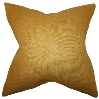 Ellery Gold Solid Feather and Down Filled Throw Pillow