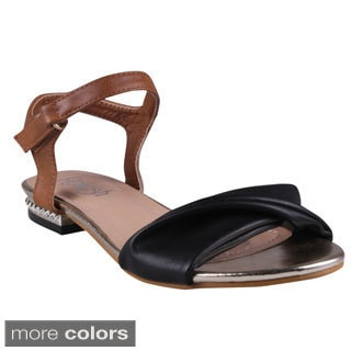 Refresh Women's 'Vodka' Two-tone Basic Ankle Strap Sandals