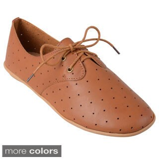 Journee Collection Women's 'Aidan-06' Perforated Lace-up Oxfords