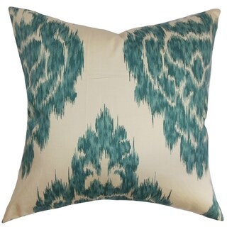 Ajayi Teal Ikat Down Filled Throw Pillow