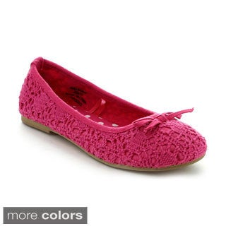 Jelly Beans Girls 'Masa' Slip-on Crocheted Ballet Flats